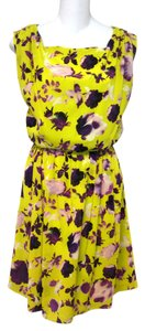 Alice + Olivia short dress chartruse & purple Floral Silk Tank Summer on Tradesy