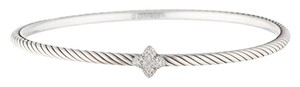 David Yurman Sterling silver David Yurman Cable Classic pave diamond quatrefoil station bangle