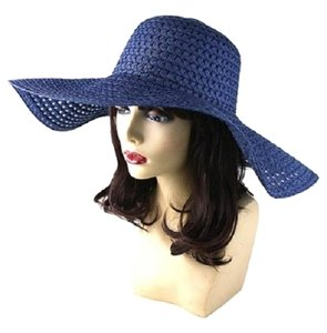 Other FASHIONISTA Navy Blue Beach Sun Cruise Summer Large Floppy Dressy Hat Cap