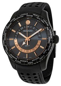 Movado Grey Dial Rose Gold Black Perforated Black Leather Strap Designer MENS Dress Watch