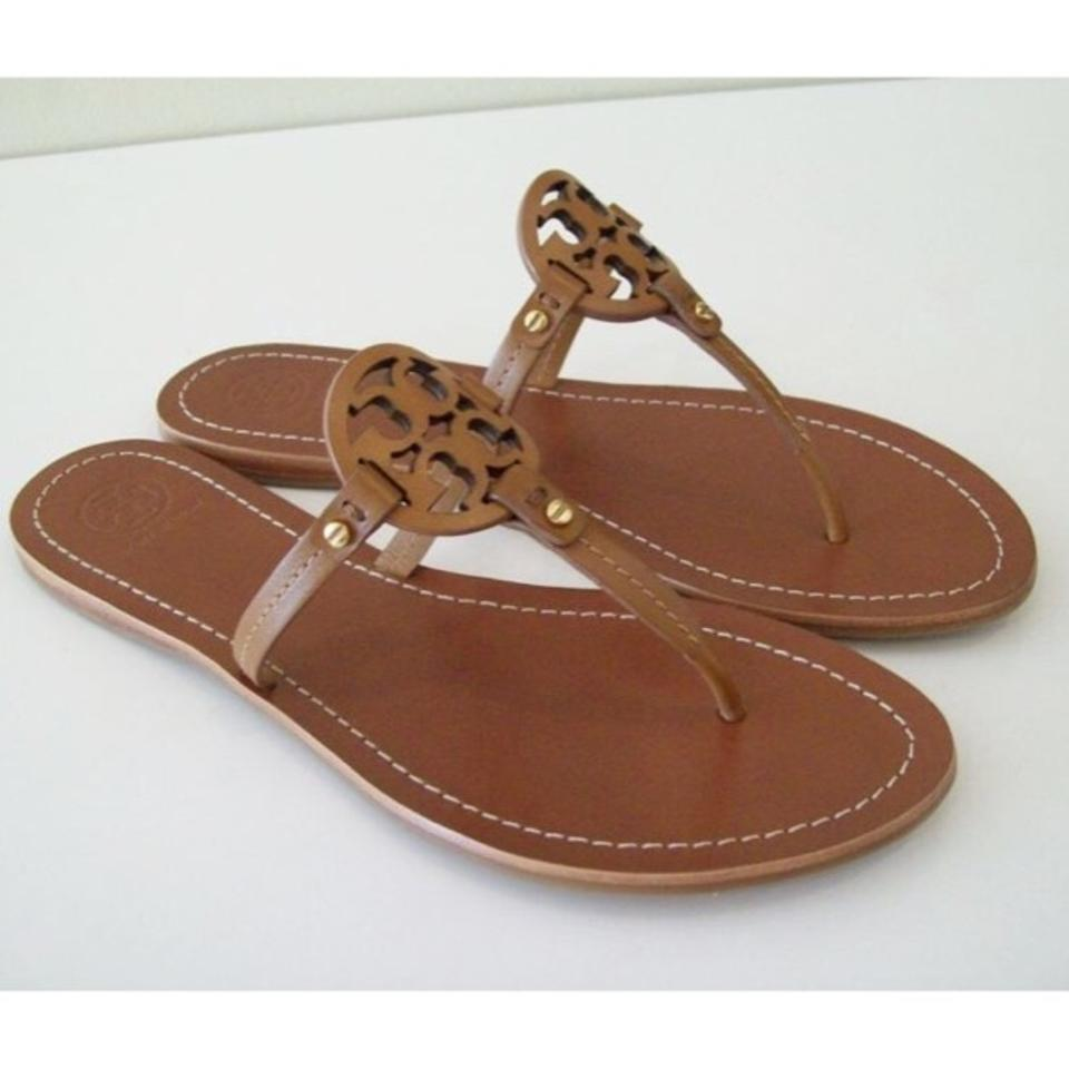 a9acf8b3fe57 Tory Burch Brown Mini Miller Flat Thong Royal Tan Leather Logo Sandals Size  US 9 Regular (M
