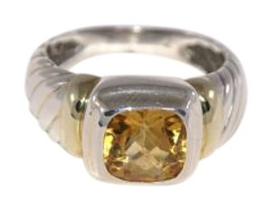 David Yurman David Yurman Sterling Silver and Gold Citrine Ring