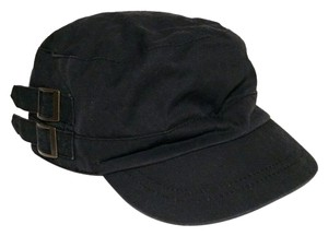 Black Cotton Military Style Hat Patrol Cap with Buckles