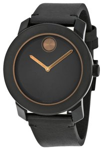 Movado Black Dial with Bronze Hands Black Leather Designer MENS Casual Watch
