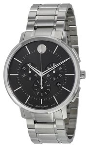 Movado Black Dial Silver tone Stainless Steel Designer MENS Dress Watch