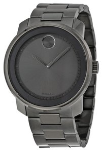 Movado Grey Dial Stainless See Grey Strap Designer MENS Casual Dress Watch
