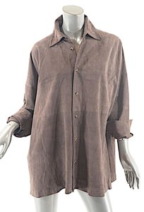 Eskandar Shirt Jacket Button Down Shirt Taupe Suede
