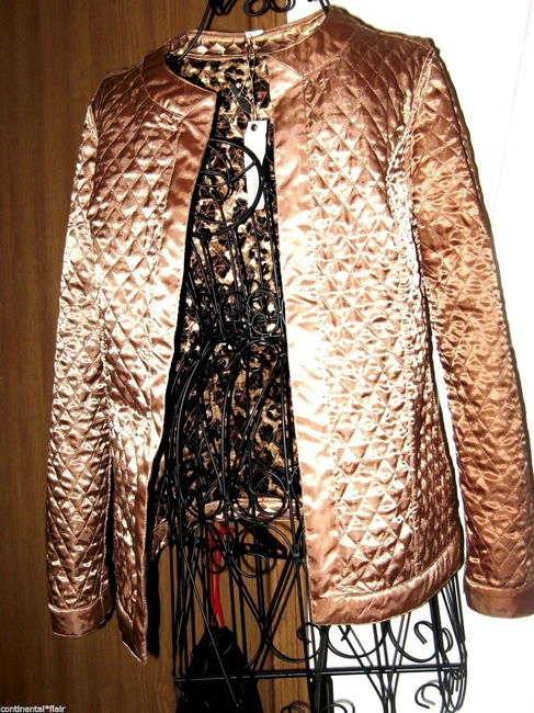 Chico's Quilted Brown Shimering beige and animal print Jacket