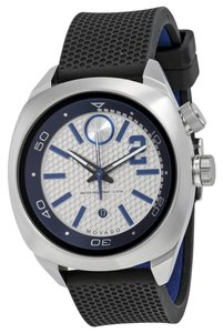 Movado Silver and Blue Dial Stainless Steel Black Silicone Strap Designer MENS Sport Watch