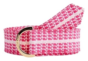 Vineyard Vines Vineyard Vines Pink Whaleline Stripe Ribbon D-Ring Belt Rhododendron Size Medium Preppy