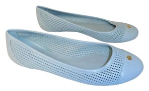 Tory Burch Designer Leather Rubber Sole light teal blue Flats