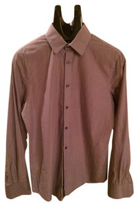 Express Button Down Shirt Grey With Blue Pinstripe
