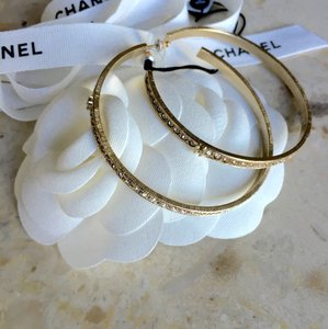 Chanel Chanel 2016 Classic CC Gold Crystal XL Hoop Earrings