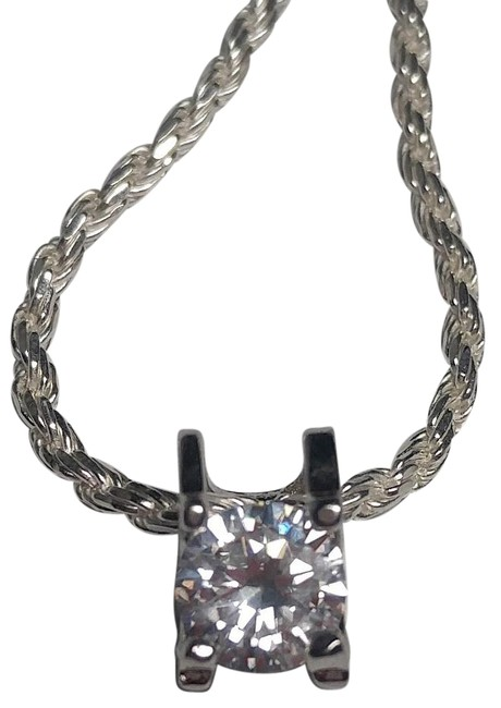 Item - Silver W Sterling W/ Cubic Zirconia Pendant New N701 Necklace