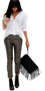 Isabel Marant Studed Embellished Sequin Capris Black/Gold