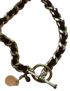 American Eagle Outfitters Faux-Suede and Silver Chain Bracelet