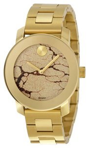 Movado Yellow Gold Ion Pated Stainless Steel Metallic Crackle Dial Designer Unisex Casual Watch