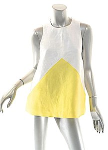 Lisa Perry Color Block Top White and Yellow