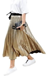 Zara Pleated Metallic Midi Skirt Gold