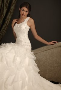 One Shoulder Lace And Organza Mermaid Wedding Gown With Chapel Train #2408 Wedding Dress