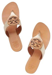a16ecb2da Tory Burch Gold Sandals - item med img. Tory Burch. Gold Louisa Flat Thong  Platinum Leather Tan Logo Sandals