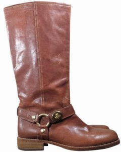 Coach Leather Mid Calf Boot Brown Boots