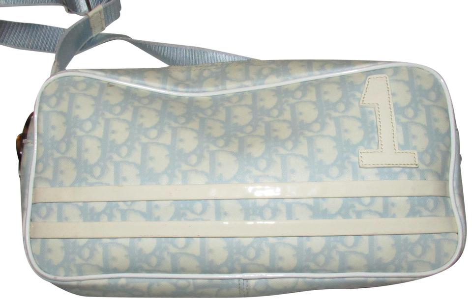 42a79fe6feec Dior Vintage Purses Designer Purses Light Blue   White Trotter Logo Print  Coated Canvas and White Patent Leather Leather Coated Cross Body Bag