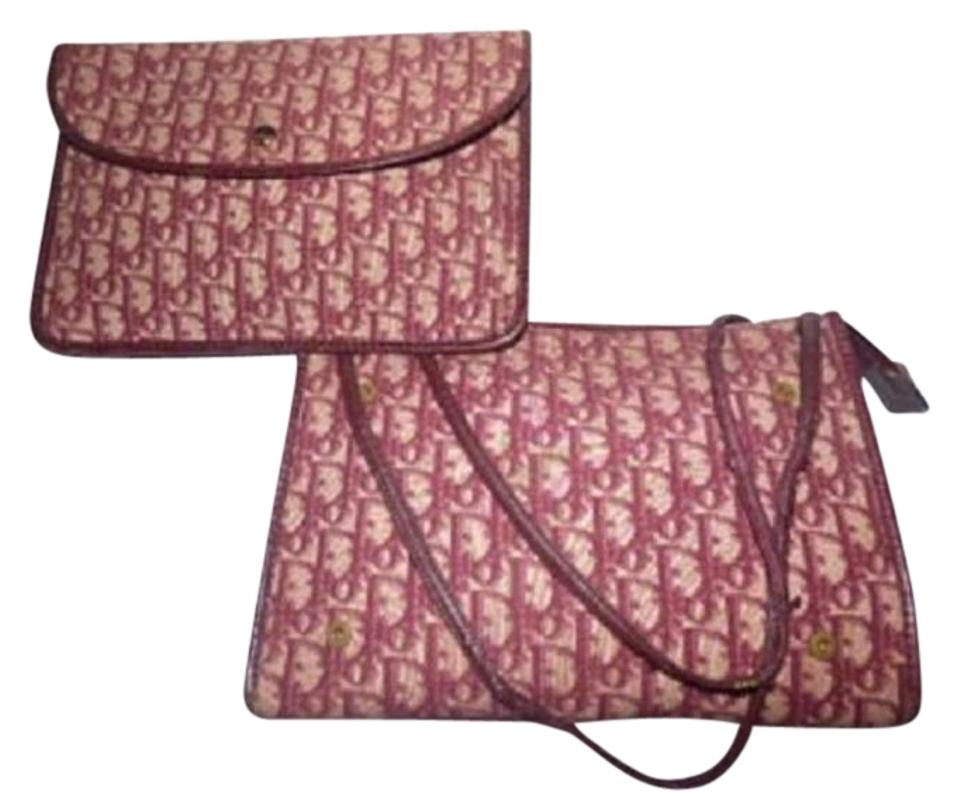 d4551037fae5 Dior 2 Attached Purses Clutch Shoulder Print Shades High-end Bohemian  Satchel in Burgundy ...