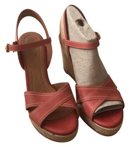 Clarks red Wedges