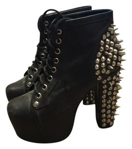 Jeffrey Campbell Studded Leather Laceup Black Platforms