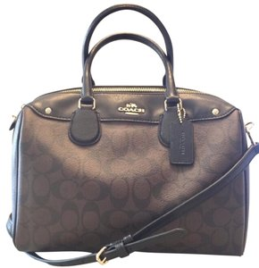 Coach Satchel in Brown & Black