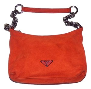 Prada Chain Accent Chrome Hardware Pop Of Color Hobo Bag