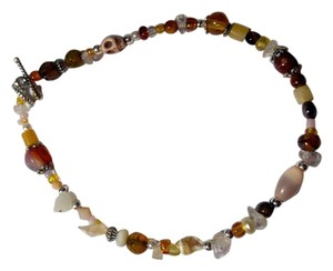 Other New Handmade Stone Shell & Crystal Anklet Brown Beige Silver J2743