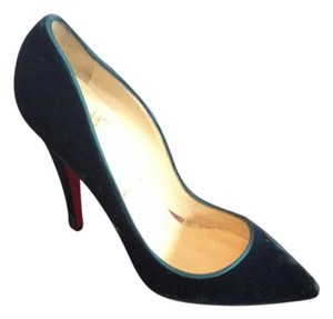 Christian Louboutin Dark Teal Velvet Pumps
