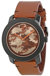 Movado Brown Camo Print Dial Brown Leather Strap Designer MENS Casual Watch