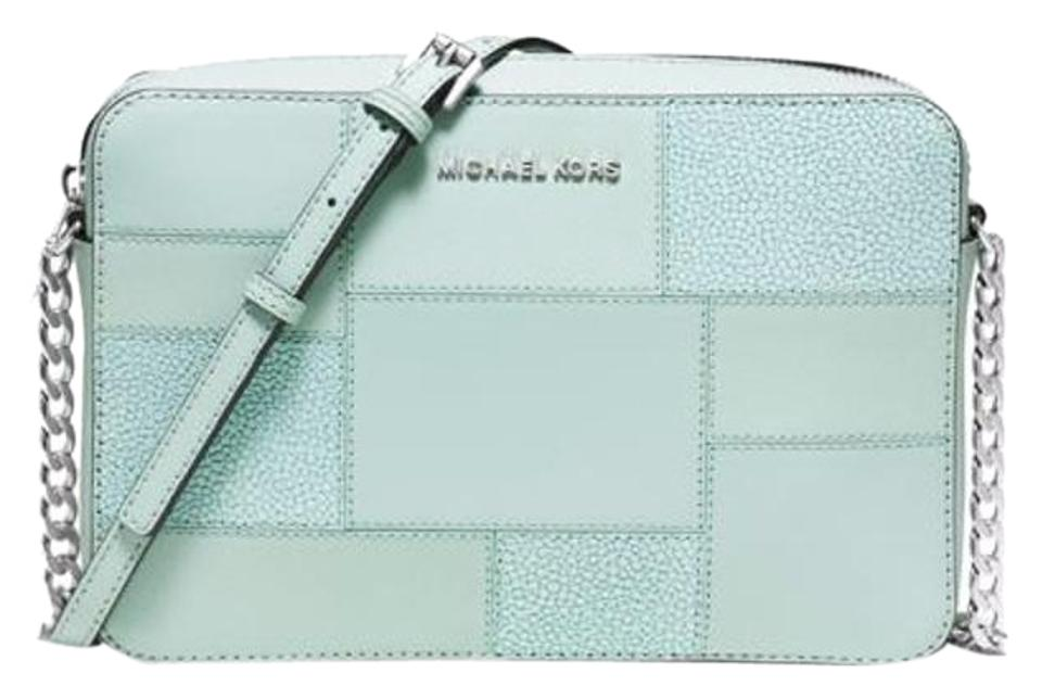 41a3e463eadcf7 Michael Kors East West Jet Set Travel Large Celadon Leather Cross ...