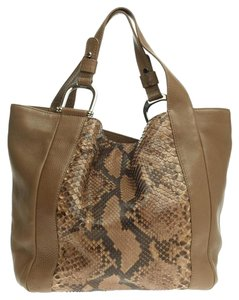 Gucci Python Leather Tote in Taupe