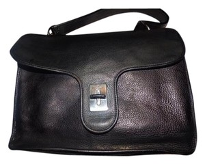 Hogan Pebbled Xl Envelope Top Chrome Hardware Exterior Pockets Satchel in Black