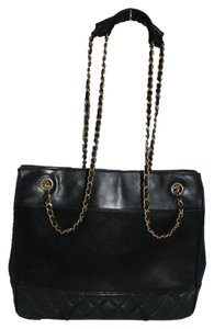 Chanel Quilted Leather Gold Chain Tote in black