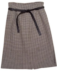 Ann Taylor Wool Skirt Black & White - Houndstooth Check