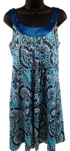 Ann Taylor short dress Blue, Brown Paisley Floral on Tradesy