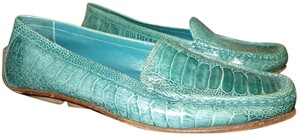 Gucci Loafers Crocodile Teal Blue Flats