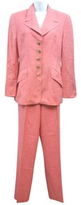 Escada ERMENEGILDO ZEGNA EXCLUSIVELY FOR ESCADA 2-PC. PINK LINEN SILK BLEND PANT SUIT 36 OR 8