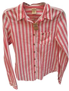 Hollister Stripes Button Down Shirt pink