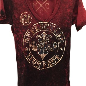 Affliction T Shirt Maroon- deep red