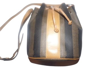 Fendi Drawstring Top Body Wide Striped Design Classic Design Gold Hardware Satchel in Brown & Black