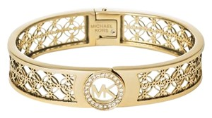 Michael Kors Michael Kors Gold-Tone Open Logo Bangle Bracelet (boxed)