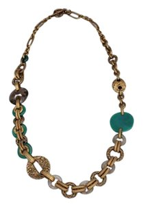 Stephen Dweck Smoky Quartz, Green Agate, bronze chain necklace 34
