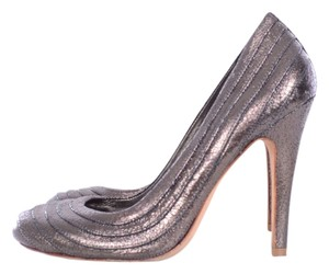 Tory Burch Leather Heels Silver Pumps