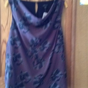 Ann Taylor Top Dark plum with black flowers